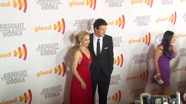 dianna agron cory monteith at the 2010 glaad media awards at century city ca - cory monteith stock videos and b-roll footage