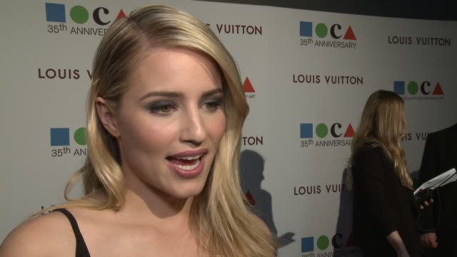 interview dianna agron on moca being in la at moca's 35th anniversary gala presented by louis vuitton at the geffen contemporary at moca on march 29... - dianna agron stock videos and b-roll footage