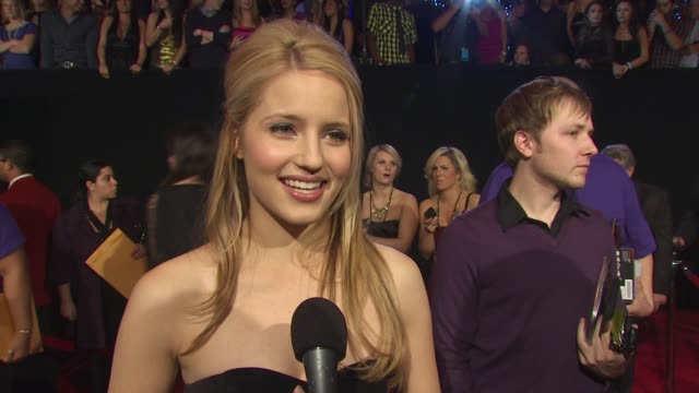 dianna agron on walking the carpet at the people's choice awards on glee being nominated for an award on who she's excited to meet tonight and on how... - dianna agron stock videos and b-roll footage