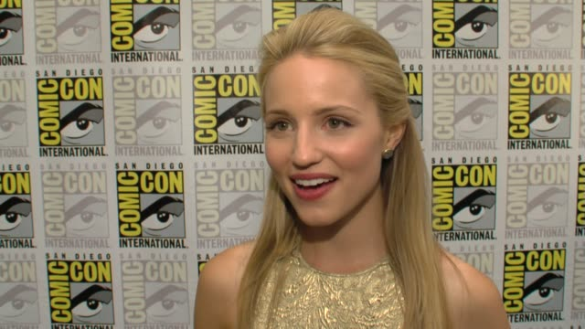 dianna agron on watching the second episode of glee with an audience at comiccon on working with ryan murphy on her character in the show and on... - glee tv show stock videos and b-roll footage