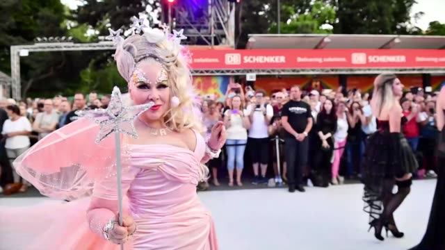 dianne brill arrives for the life ball 2019 at city hall on june 08 2019 in vienna austria after 26 years the charity event life ball will take place... - vienna city hall stock videos & royalty-free footage