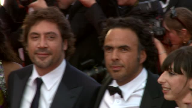 diaryatou daff javier bardem alejandro gonzalez inarritu maricel alvarez and eduard fernadez at the biutiful red carpet cannes film festival 2010 at... - javier bardem stock videos and b-roll footage