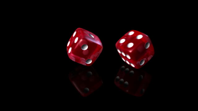 Dice roll red in black background