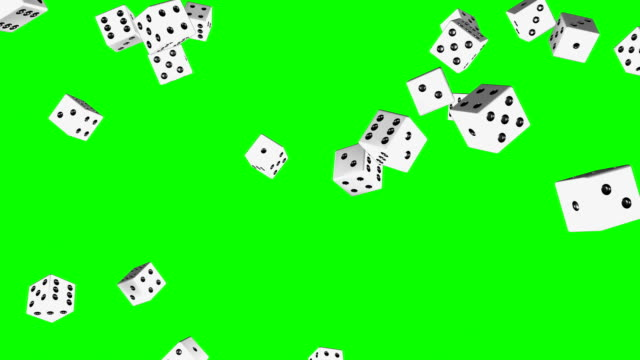 dices falling green screen (loopable animation) - casino stock videos & royalty-free footage