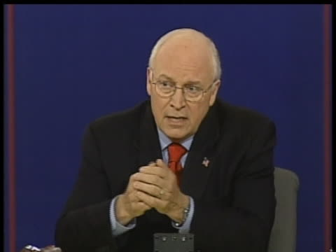 dick cheney discusses the situation in afghanistan during a 2004 vice presidential debate against john edwards. - dick cheney stock videos & royalty-free footage