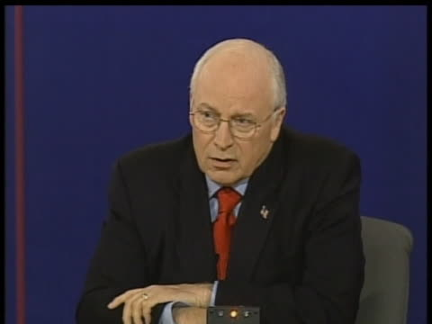 dick cheney discusses the war in iraq during his 2004 vice presidential debate against john edwards. - dick cheney stock videos & royalty-free footage