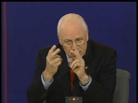 dick cheney discusses what he considers to be the two crucial steps towards success in iraq during the 2004 vice presidential debates. - dick cheney stock videos & royalty-free footage