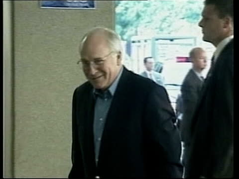 dick cheney has peacemaker fitted; pool via aptn usa ext dick cheney comments to press then along to building - dick cheney stock videos & royalty-free footage