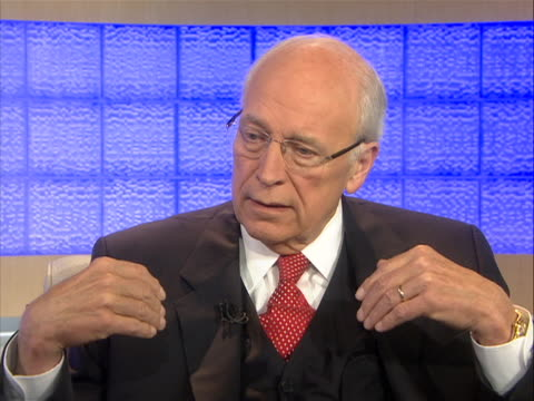 """dick cheney in studio interview former vice president dick cheney says: """"i felt strongly that i wanted to write what i remembered about these events.... - dick cheney stock videos & royalty-free footage"""