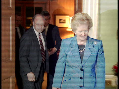 dick cheney london visit; 10 downing street: **flashlight photography** margaret thatcher mp and dick cheney photocall and handsahke condensed rushes... - dick cheney stock videos & royalty-free footage