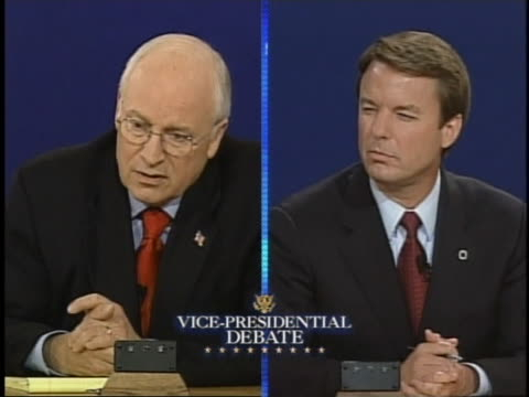 dick cheney talks about the aids crisis during the 2004 vice presidential debates. - dick cheney stock videos & royalty-free footage
