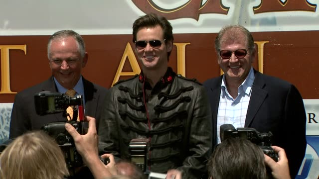 dick cook jim carrey and robert zemeckis at the 'disney's a christmas carol' train tour at los angeles ca - robert zemeckis stock videos and b-roll footage