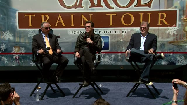 dick cook jim carrey and robert zemeckis on carrey finding his inner scrooge at the 'disney's a christmas carol' train tour at los angeles ca - robert zemeckis stock videos and b-roll footage