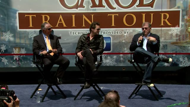 dick cook jim carrey and robert zemeckis on the animation and the cast at the 'disney's a christmas carol' train tour at los angeles ca - robert zemeckis stock videos and b-roll footage