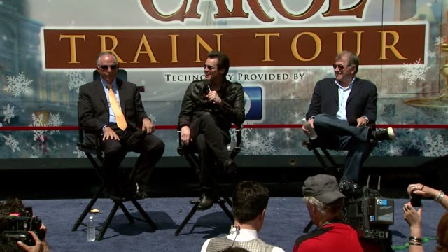 dick cook jim carrey and robert zemeckis on what children will learn on the train tour at the 'disney's a christmas carol' train tour at los angeles... - robert zemeckis stock videos and b-roll footage