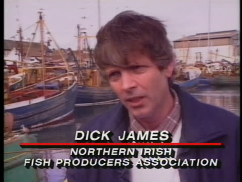 dick james of the northern irish fish producers association comments on a us submarine dragging a fishing boat through the irish sea. - us navy stock videos & royalty-free footage