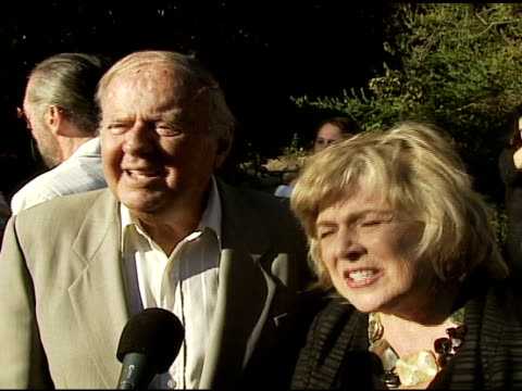 dick van patten on why he's in attendance, his admiration for tori spelling and pam grier, and his love of his cats at the bow wow ciao benefit for... - tori spelling stock videos & royalty-free footage