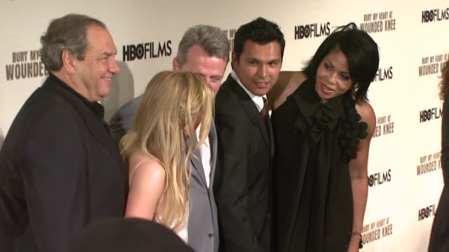 dick wolf anna paquin aidan quinn adam beach and sam martin at the 'bury my heart at wounded knee' premiere at the american museum of natural history... - aidan quinn stock videos & royalty-free footage