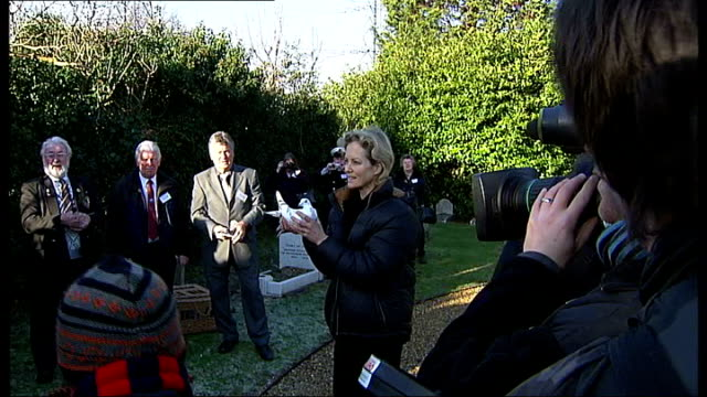 Dickin medal ceremony at the refurbished Ilford Animal Cemetery Actress Jenny Seagrove holding pigeon and posing for photocall then setting pigeon...
