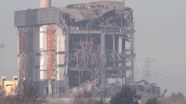 didcot power station collapse: hopes fade for missing people; various of partially collapsed boiler house building - boiler stock videos & royalty-free footage