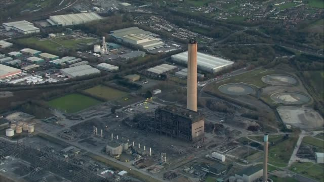 didcot power station collapses during demolition work killing one person air views collapsed building at didcot power station - didcot stock videos and b-roll footage