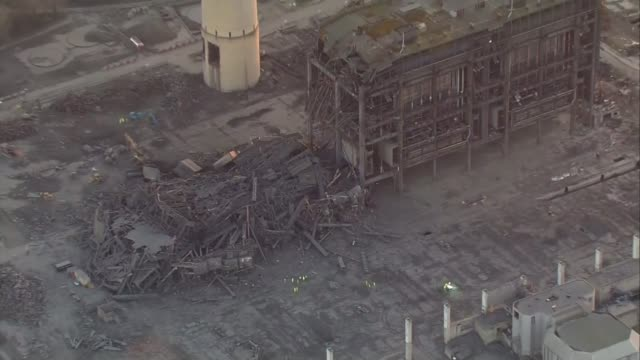 didcot power station collapses during demolition work killing one person; england: oxfordshire: didcot: ext air views / aerials emergency workers at... - boiler stock videos & royalty-free footage