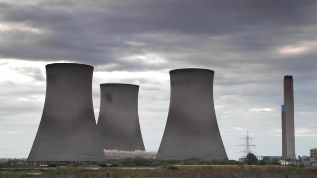 didcot power station towers demolition - demolishing stock videos & royalty-free footage