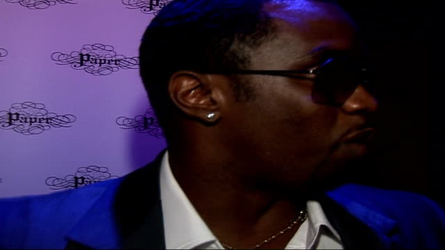 P Diddy's birthday party and 'Press Play' album launch arrivals **flash photography throughout interview** Sean 'P Diddy' Combs interview SOT You...
