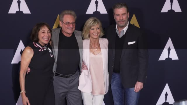didi conn barry pearl olivia newtonjohn and john travolta at the grease 40th anniversary at samuel goldwyn theater on august 15 2018 in beverly hills... - olivia newton john stock videos & royalty-free footage