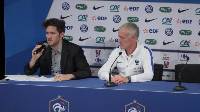 didier deschamps is asked about england's under20 world cup win he also speaks about the quality of the young french generation deschamps is asked... - hugo lloris stock videos and b-roll footage