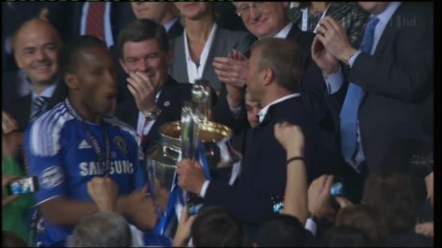 Didier Drogba interview ITV SPORT = NO RESALE Munich Allianz Arena EXT Drogba and Roman Abramovich celebrating