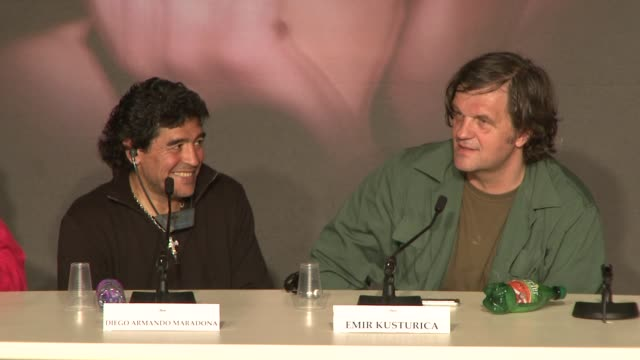 Diego Armando Maradona and Emir Kusturica at the Cannes press conference for 'Maradona' in Cannes on May 20 2008