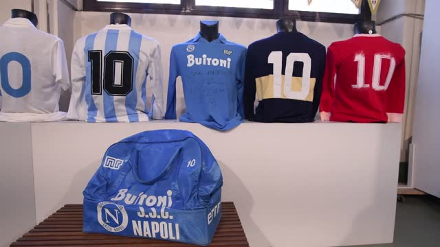 """diego armando maradona football shirts with autograph during the preparation of the """"sport memorabilia"""" auction on november 26, 2020 in turin, italy.... - all shirts stock-videos und b-roll-filmmaterial"""