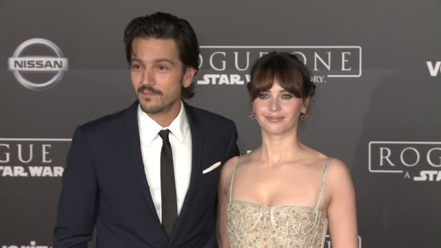 Diego Luna and Felicity Jones at Rogue One A Star Wars Story World Premiere at the Pantages Theatre on December 10 2016 in Hollywood California