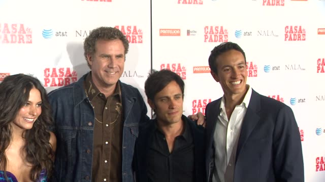 diego luna genesis rodriguez will ferrell gael garcia bernal at casa de mi padre los angeles premiere on 3/14/12 in los angeles ca - padre stock videos & royalty-free footage