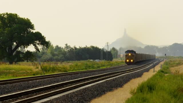 Diesel freight train locomotive Chimney Rock Nebraska USA
