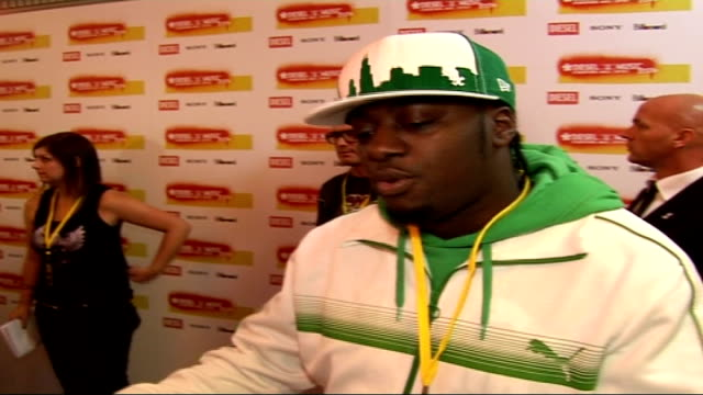 diesel-u-music awards 2006 interviews; sway interview sot - on freebies he is wearing / on causing chaos at the mobos by insisting on having an f1... - hugo boss stock videos & royalty-free footage