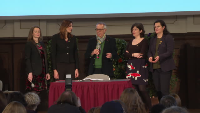 speech dieter kosslick discusses the role of women at this years festival his history with gender equality and signs the berlinale pledge for gender... - gender equality stock videos & royalty-free footage