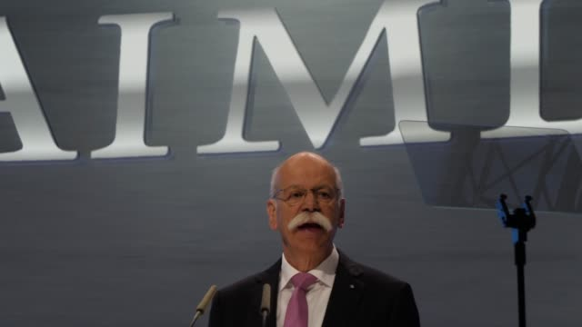dieter zetsche, chairman of daimler ag, speaks at the annual daimler ag shareholders meeting on may 22, 2019 in berlin, germany. daimler has... - annual general meeting stock videos & royalty-free footage