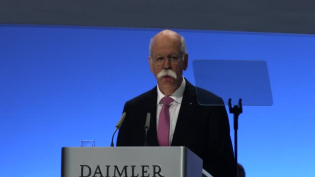 dieter zetsche, chairman of daimler ag, speaks at the annual daimler ag shareholders meeting about niki lauda, who died two days ago, and the... - annual general meeting stock videos & royalty-free footage