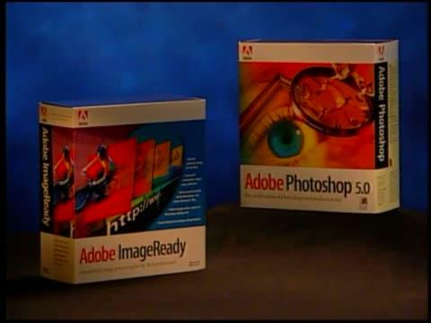 different adobe products on display. - adobe bildbanksvideor och videomaterial från bakom kulisserna