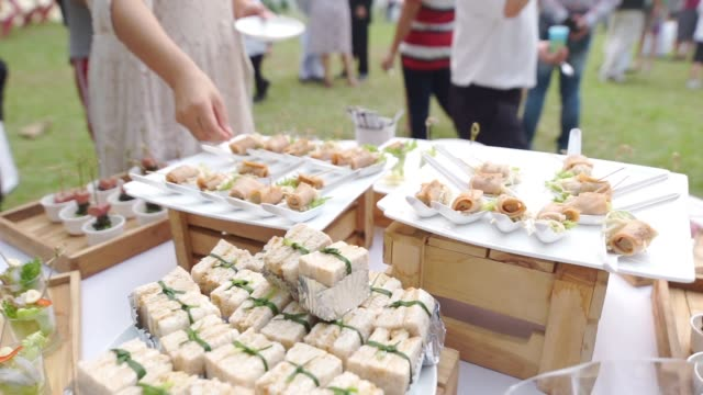 different appetizer canape on white plate on a table for outdoor wedding and events. - catering occupation stock videos & royalty-free footage