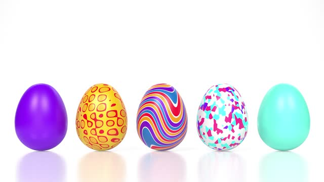 different colorful decorated easter eggs on reflective white surface in 4k resolution - number 5 stock videos & royalty-free footage