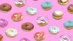 Different donuts on a pink background