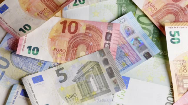 different euro-banknotes turning - euro symbol stock videos and b-roll footage