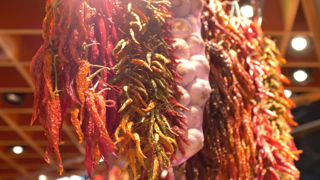 different kind of chilli in the street market - spain stock videos & royalty-free footage