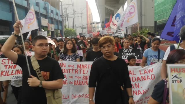 different militant groups staged a protest on may 24 2019 urging the duterte goverment to lift martial law in mindanao martial law in mindanao was... - militant groups stock videos and b-roll footage