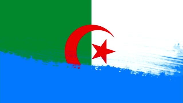 4k - 3 different paint brush style transition animation with algeria country flag - wipe video transition stock videos & royalty-free footage
