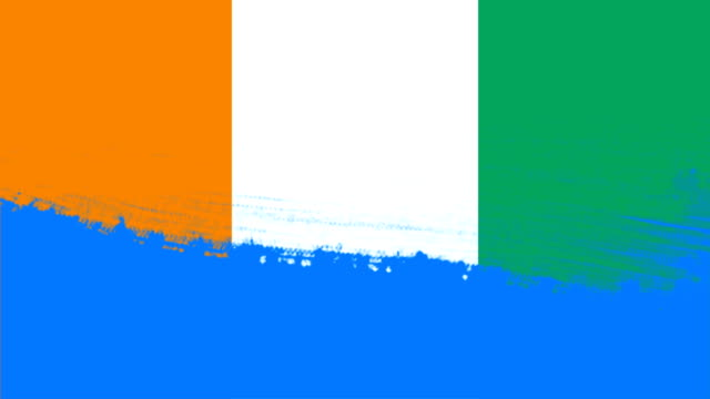 4k - 3 different paint brush style transition animation with cote d'ivoire country flag - cut video transition stock videos & royalty-free footage