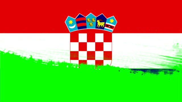 4k - 3 different paint brush style transition animation with croatia country flag - cut video transition stock videos & royalty-free footage
